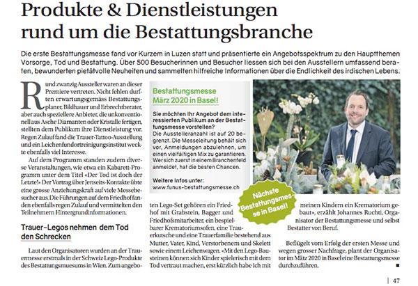 screenshot der Zeitung Basel Express zu Bestattungsmesse